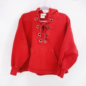 Good American The Lace Up Hoodie in Red